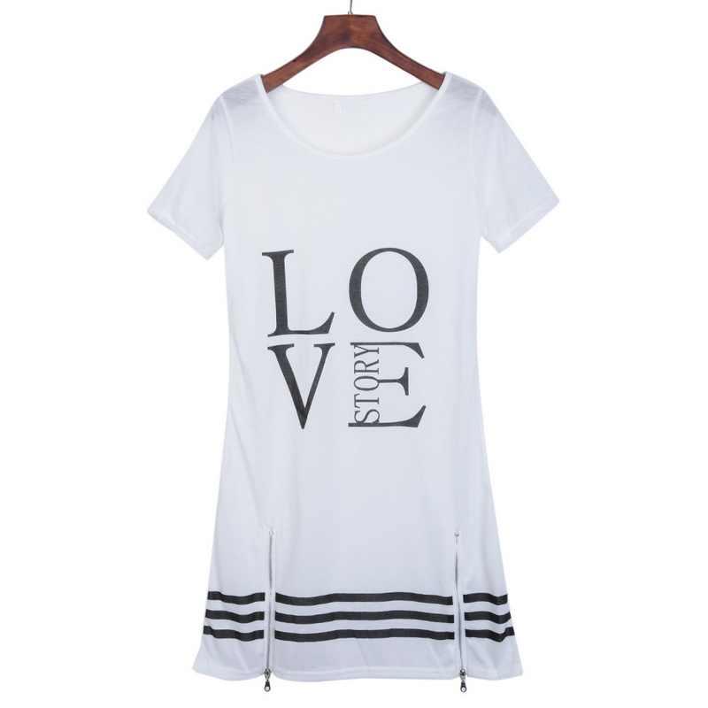 Laamei Yaz O-boyun Uzun T-Shirt Elbise Kadın Mektubu Baskı Elbiseler Kısa Kollu Rahat Gevşek Streetwear Sundress Artı Boyutu S-5XL