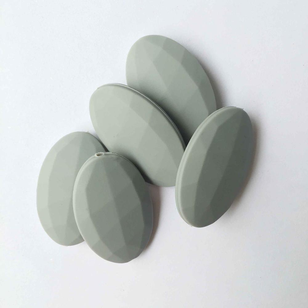 50 шт./лот плоские овальные свободные силиконовые Бусины для прорезывания зубов Цепочки и ожерелья силиконовые свободные Бусины для маленьких прорезыватель BPA бесплатно 19 цвет - Цвет: Серый