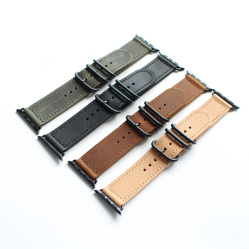 все цены на LUKENI Brown Black Green Khaki 38mm 42mm Apple 1 2 Watchbands Genuine Crazy Horse leather Watch Strap pulseira Iwatch Bracelet онлайн