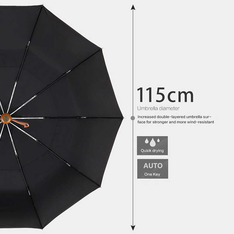 e85f08d60520 PARACHASE Big Umbrella Men Business Style 115cm Automatic Umbrella Rain  Double Layer 10K Windproof Large Golf Umbrellas Wooden