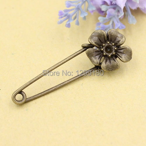 10pcs/lot Alloy Antique Bronze Vintage Flower Brooch Safety Pins For Garment Accessories Scarf Clip pins Length:53mm (K02079)