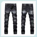 Promoción 100% de Algodón de Mezclilla Ocasional Pantalones Vaqueros Elásticos masculinos Pantalones Rectos Hombres Mediados de Cintura de Pantalones Vaqueros Uglybros Bálsamo