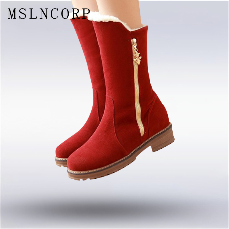 Plus size 34-43 new women autumn winter keep warm mid calf snow boots Zipper Flat with round toe Slip On woman boots Shoes купить дешево онлайн