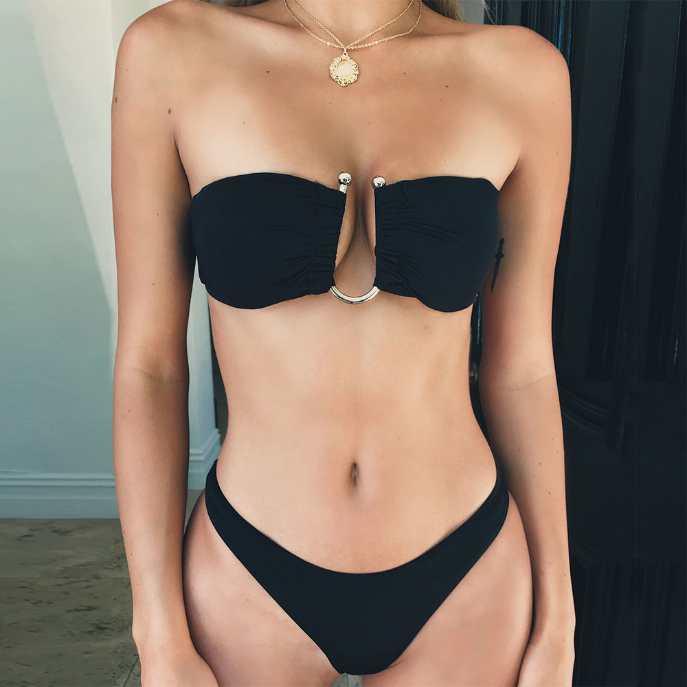 Black <font><b>Bikini</b></font> <font><b>2019</b></font> Summer Beach <font><b>U</b></font>-shaped rims Tube Top <font><b>Sexy</b></font> <font><b>Swimwear</b></font> <font><b>Women</b></font> Mini Thong Brazil <font><b>Bikini</b></font> Up <font><b>Push</b></font> Split Swimsuit image