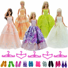 Random Pick 30Pcs=10Pcs Princess Doll Wedding Dress Gown + 10 Shoes + 10 Pink Hangers For Barbie Doll Accessories Baby Toy