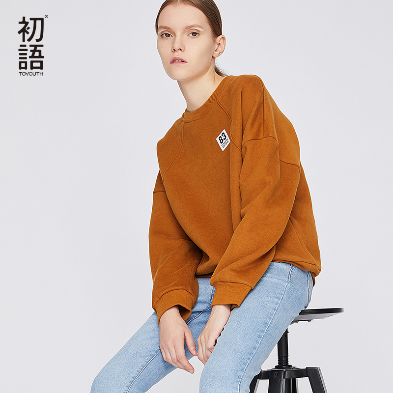 Toyouth Women Winter Pullover Sweatshirt Oversized Sweatshirts Long Sleeve Tops Mujer  Loose Harajuku Warm Sweatshirt 2019