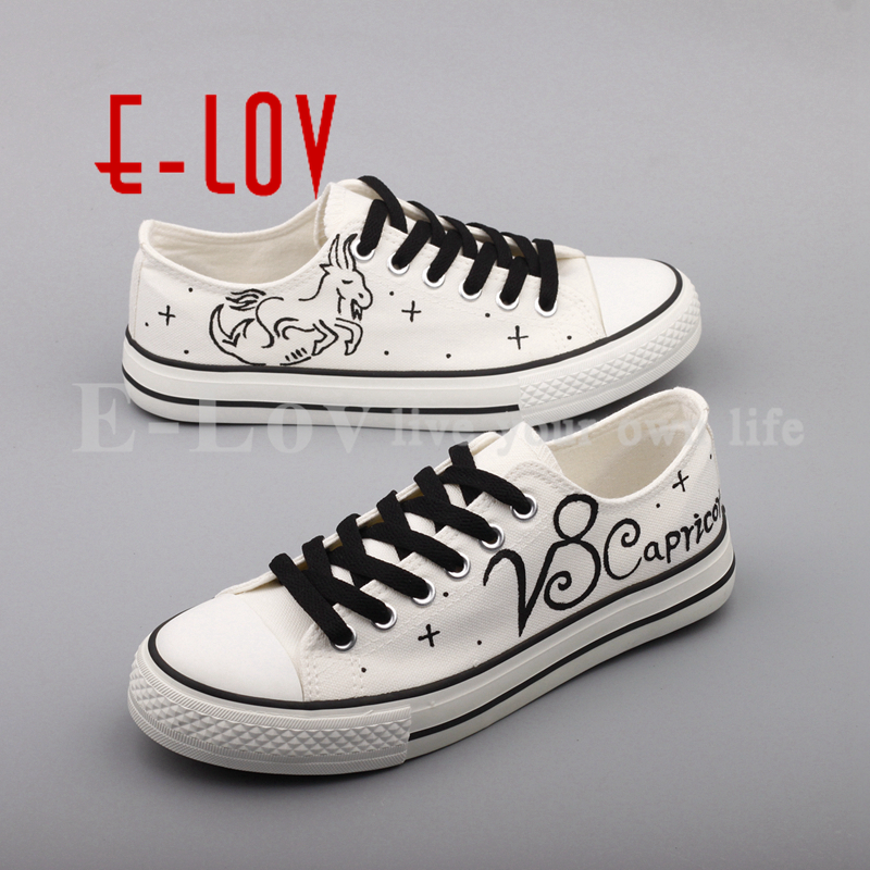 E-LOV Hot Sale Capricorn Constellation Canvas Shoes Hand Painted Women Flats Graffiti Oxford Shoe tenis feminino e lov hand painted graffiti horoscope canvas shoes custom luminous graffiti gemini casual flat shoes women zapatillas mujer