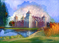 Thin Fabric Cloth Printed Photography Background Castle Backdrop 5ft X 7ft D 2012