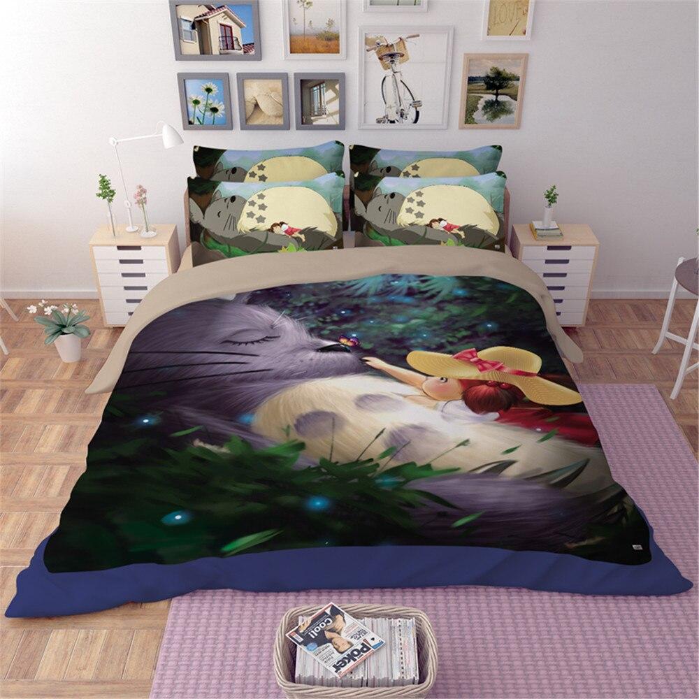 Japanese Anime printed vivid Neighbor Totoro flower leaf Bedding Set Twin King Size Sheet Duvet Cover Children teen kid Bedroom
