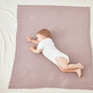 Image 4 - Baby Blankets 100%Cotton Knitted Newborn Bebes Swaddle Wrapper Solid Color Infant Crib Bedding Blanket Children Stroller Quilts