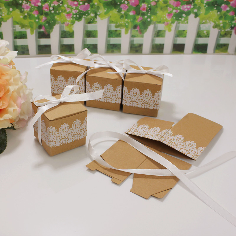 20pcs Lace Bow Candy Dragee Box Flower Kraft Paper With Ribbons Wedding Gift Box Mini Single Cake Chocolate Cookie Box Packaging