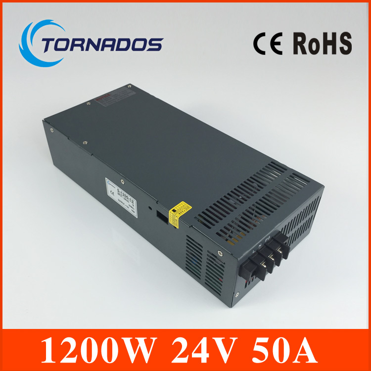 1200W 24V 50A adjustable 110V or 220V input Single Output Switching power supply for LED Strip light AC to DC single output uninterruptible adjustable 24v 150w switching power supply unit 110v 240vac to dc smps for led strip light cnc