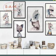 ФОТО Rabbit Girls Artwork Canvas Art Print Painting Poster Wall Pictures  Kids Room Home Decorative Bedroom Decor No Frame