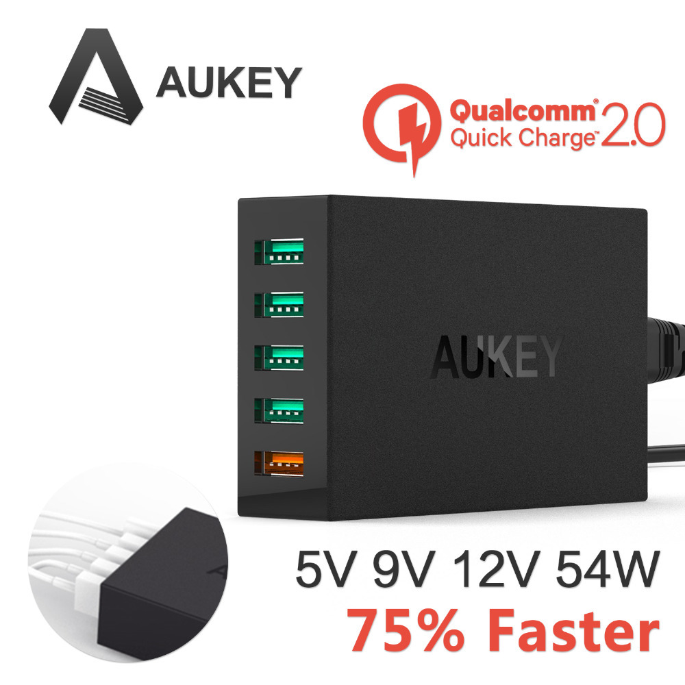 [Qualcomm Certified]Aukey Quick Charge 2.0 54W 5 Ports USB Desktop Charging Station...