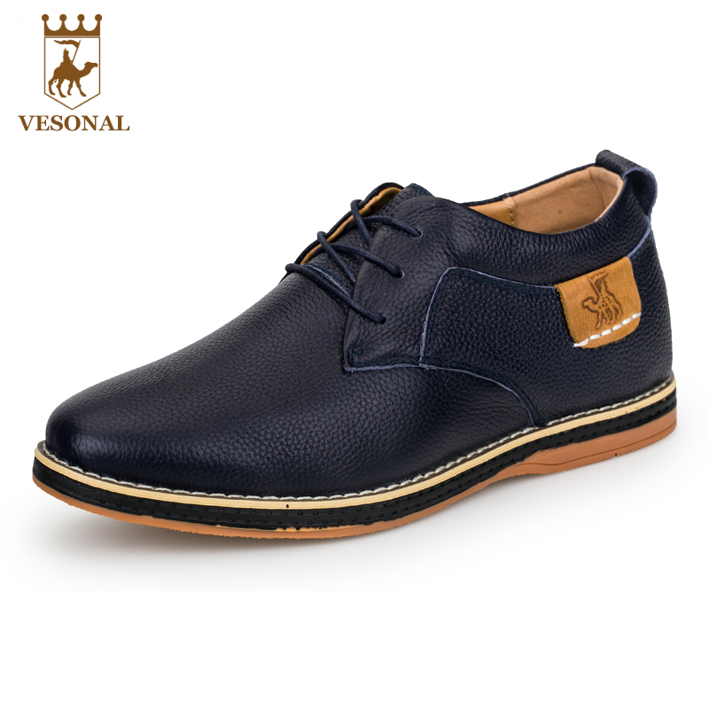 VESONAL Hot Sale 2017 Brand Casual Male Shoes Men Comfortable Soft Genuine Leather Man Walking Footwear breathable Quality Shoes купить