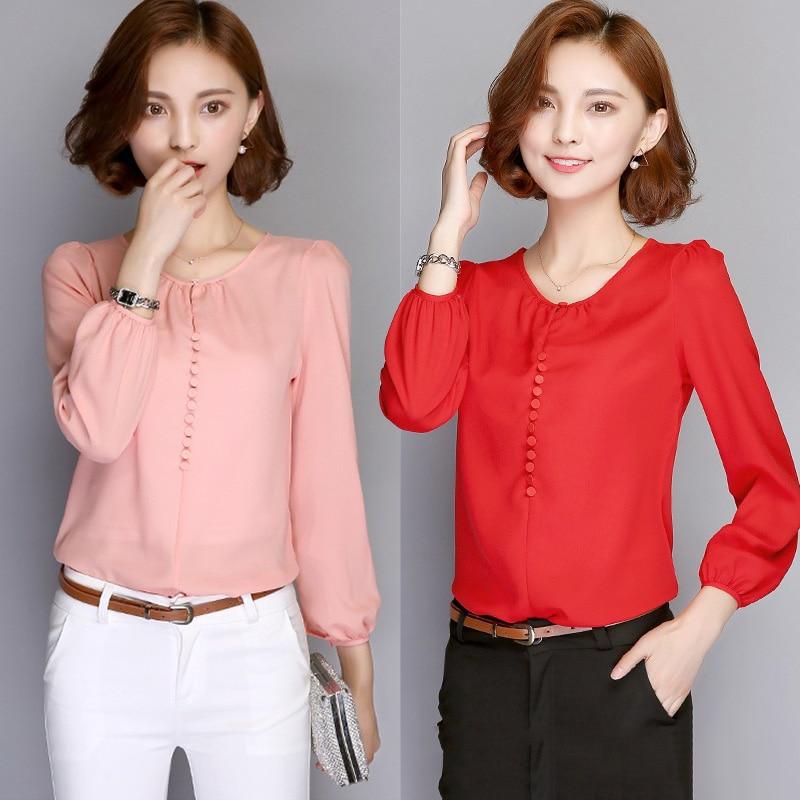 2019 Fashion Women Autumn Chiffon Shirts Round Neck Long Sleeves Loose Simple Slim Fit Tops Blusas Feminino