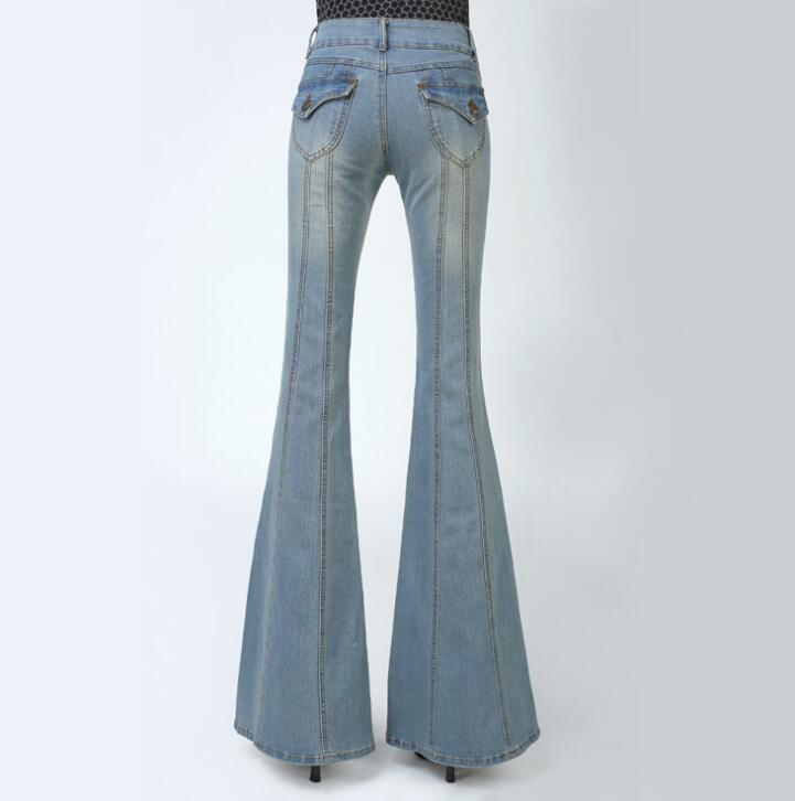 Lungo Autunno Sottile Pantaloni Modo Blue Donne Altoparlante Alta Blue Delle Di Vita In Flares light 2018 Primavera Jeans Dark Casual E vqwOO6t