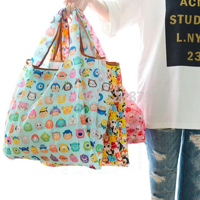 3df06859bdd Cartoon Tsum Tsum Hello Kitty Folding Reusable Shopping Bag Foldable Nylon Grocery  Bags Large Tote Bag