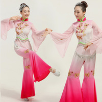 Chinese Classical Dance Costumes Yangko Dance Pink Gradient Flower Embroidery Stage Performance Clothes