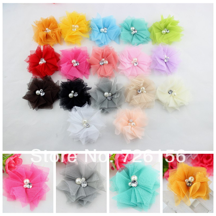 40pcs/lot Colorful Tulle Mesh Flowers With Rhinestone Pearl Center <font><b>Poof</b></font> Flowers headbands Accessories Flat Back image