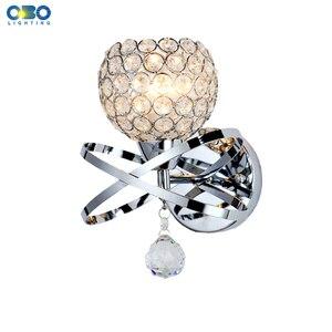 Cristal moderno foyer lâmpada de parede prata/ouro quarto cabeceira iluminação interior e27 suporte da lâmpada 110-240 v frete grátis