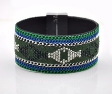 Women's Fashion Jewerly 5 Rolls Wide Bangle Fabric Bracelet YD21