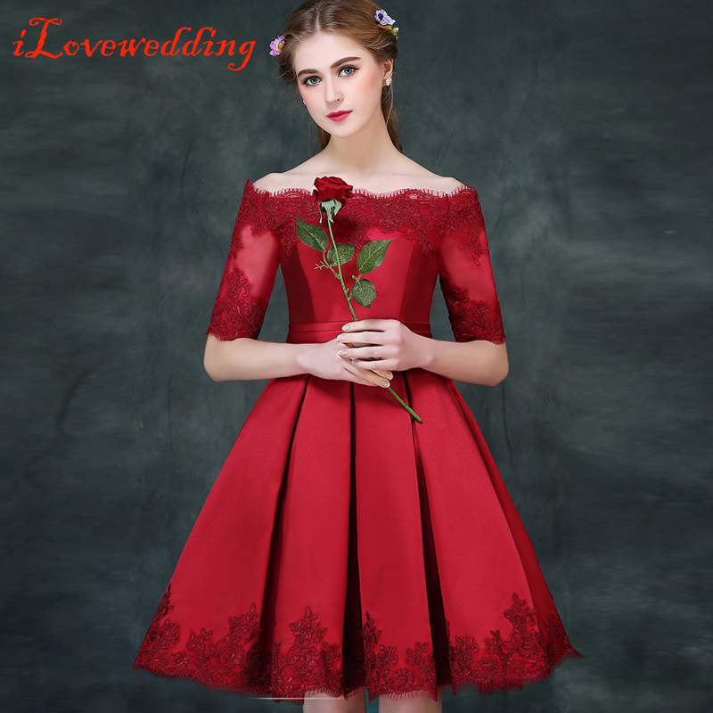 Ilovewedding Red Short Prom Dresses Half Sleeve Satin With