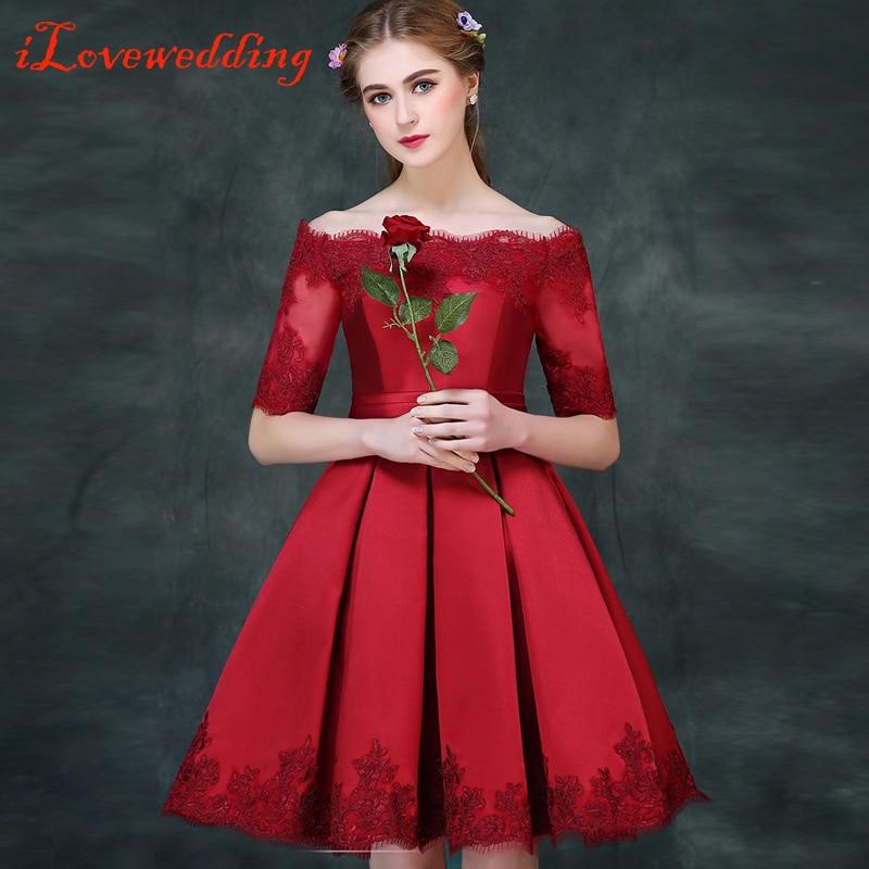 Ilovewedding Red Short Prom Dresses Half Sleeve Satin With Lace