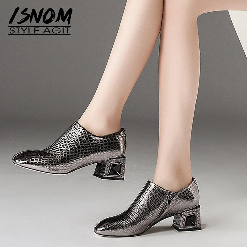 ISNOM الأفعى زخرف عالية الكعب النساء مضخات البريدي مربع اصبع القدم الأحذية جلد سيدة الأزياء والأحذية مكتب أحذية امرأة 2019 الربيع جديد-في أحذية نسائية من أحذية على  مجموعة 1