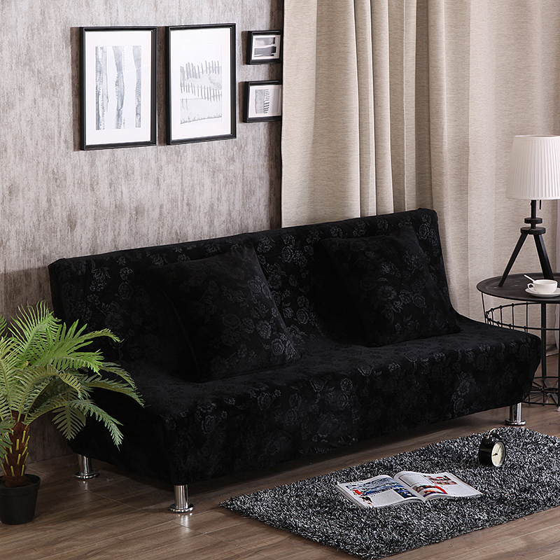 Black Embossing Universal Elastic Sofa Bed Covers For Living Room Polyester 100 Armless Couch