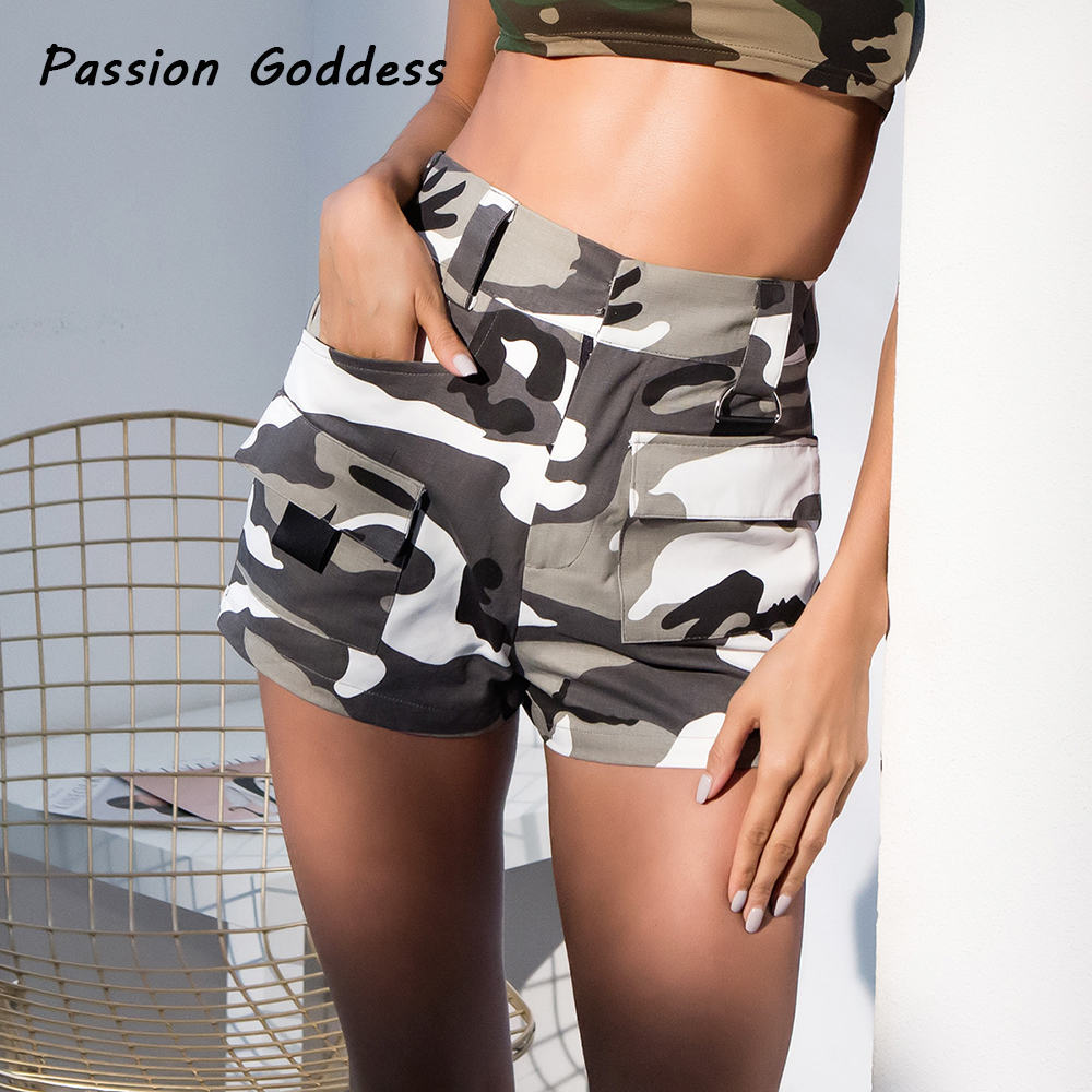 Women Cool Baggy Cargo Orange Camo Shorts Casual Pocket Short Overalls Gray Camouflage Loose Cargo Shorts Punk Shorts High Waist ...