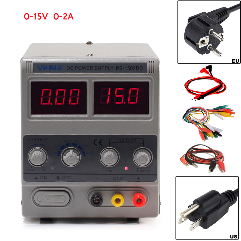 YIHUA 1502DD DC power supply voltage regulator laboratory power supply adjustable digital telephone repair 15V 2A switch power