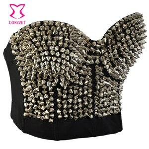 Image 2 - Punk Rave srebrny nabijany nit biustonosz kobiety seksowna bluzka push up biustonosz z kolcami Sujetador biustonosz seksowna bielizna Rock Clubwear
