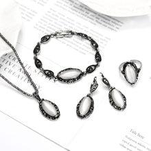 0f0e6049a03d Elegante Vintage ópalo conjunto de joyas de piedra colgante de moda Collar  de plata 4 Unid joyería de fiesta de disfraces conjun.
