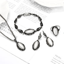 758fe7f5b88b Elegante Vintage ópalo conjunto de joyas de piedra colgante de moda Collar  de plata antiguo de 4 Pc joyería de fiesta de disfrac.