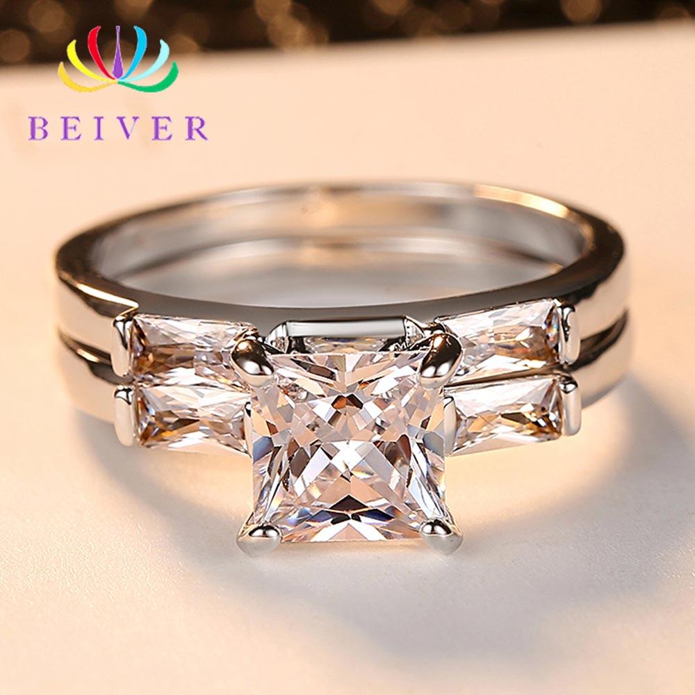 2 Stuks Transparante Vierkante Zirkoon Paar Ringen Voor Vrouw Wit Goud Kleur Engagement Sieraden Beiver