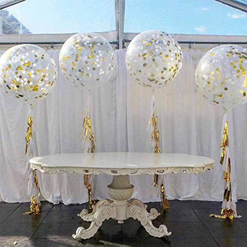 Giant Confetti Clear Balloons Tassel Ribbon For Wedding