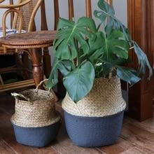 S/M/L Seagrass Folding Handmade Storage Basket Decorative Rattan Plant Flower Pot Woven Wicker Belly Laundry Basket Home Decor
