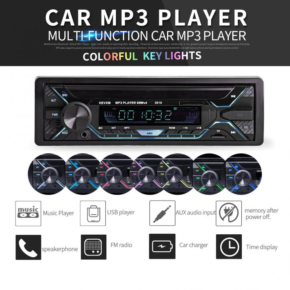 7-Color Car In-dash MP3 Stereo Radio Player Bluetooth FM USB//SD//AUX With Remote