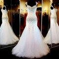 Branco Lindo Da Sereia Cristal Beading Vestido de Baile 2017 Novo Vestido De Festa Curto Vestido Com Pedras