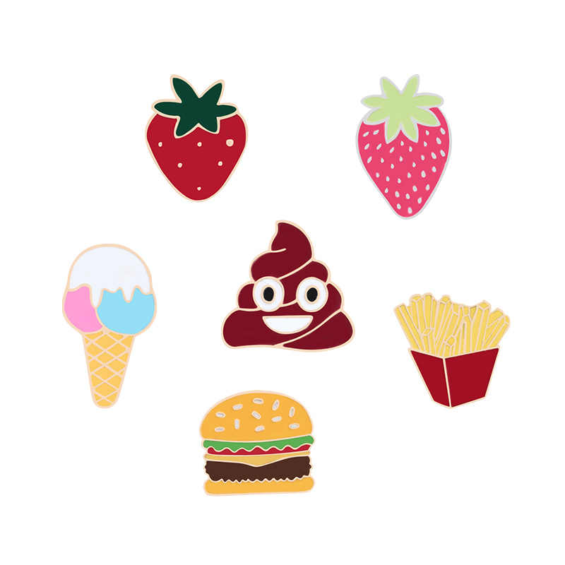 New Fashion Ice Cream Patatine Fritte Hamburger Fragola Alimentare Spilla Divertente Sgabello In Metallo Dello Smalto spille Collare Giubbotti Distintivo Regalo Dei Monili