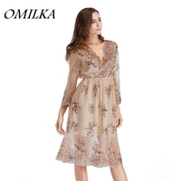 OMILKA 2017 Autumn Winter Women Long Sleeve V Neck Sequin Dress Sexy Black Champagne Night Club Party A Line Plus Size Dress