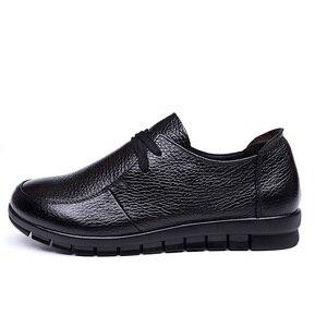 Image 4 - Designer de ballet feminino apartamentos preto mocassins couro genuíno sapatos casuais 2019 novo buty damskie baixo calcanhar chaussure femme