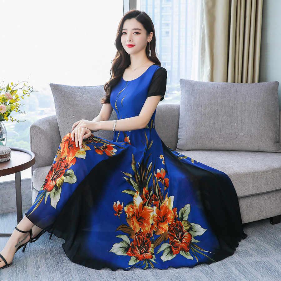 Летнее шифоновое пляжное платье миди с принтом 2019 женское винтажное 3XL плюс размер Boho Макси платья элегантные женские облегающие вечерние платья