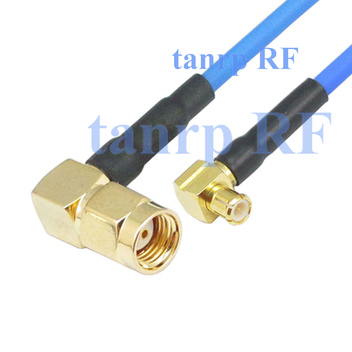 15CM coaxial Sexi Flexible blue jacket jumper cable RG405 6in RP SMA male to MCX male both right angle RF 3G 4G router WIFI