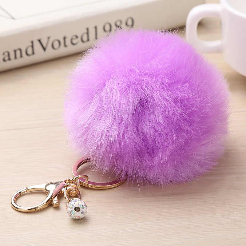 Grande falso couro 8 cm falso pele pompom chaveiro coelho saco de lâmpada de cabelo pom pom bola chaveiro porteffor feminino adorável fofo