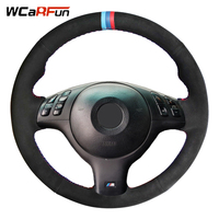 WCaRFun DIY 3 COLOR STRIPES Black Suede Car Steering Wheel Cover for BMW E46 M3 E39 330i 540i 525i 530i 330Ci 2001 2002 2003