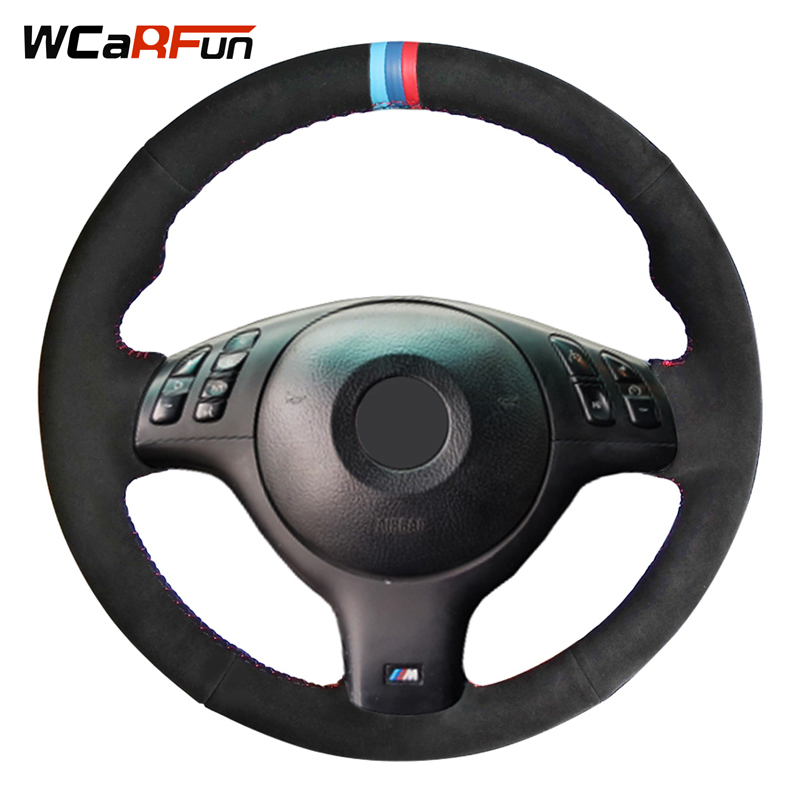 WCaRFun DIY 3 COULEUR RAYURES Noir En Daim Couverture De Volant de Voiture pour BMW E46 M3 E39 330i 540i 525i 530i 330Ci 2001 2002 2003