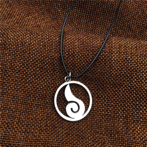 Image 5 - Wholesale 10pcs/lot Anime Jewelry Naruto Konoha Logo Pendant Necklace With Rope Chain For Men Gifts