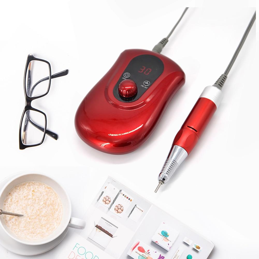 30000RMP Nagel Bohrer Maniküre Set Datei Rot Nail Pen Maschine Set Kit Mit EU Stecker Batterie Tragbare Nagel Schleifen Maschine-in Elektrisches Maniküre Bohrer & Zubehör aus Haar & Kosmetik bei  Gruppe 3